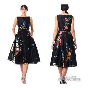 Eshakti Dupioni Floral Dress